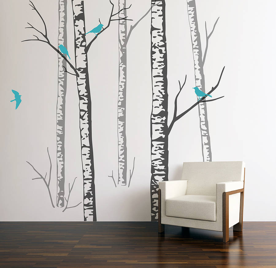 Wall stickers birch forest grey