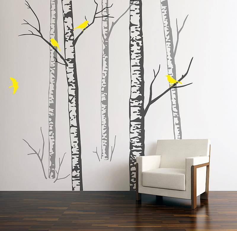 wall stickers birch forest grey by zazous. Black Bedroom Furniture Sets. Home Design Ideas