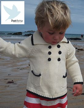 Baby Knitted Cream Sailor Cardigan