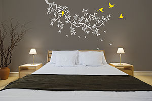 Wall Stickers: Spring Branches White - bedroom
