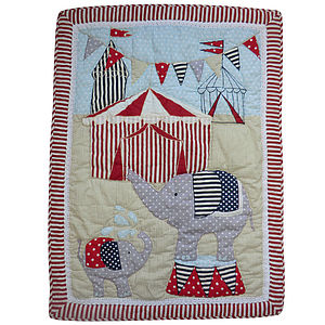Embroidered Circus Blanket - baby's room