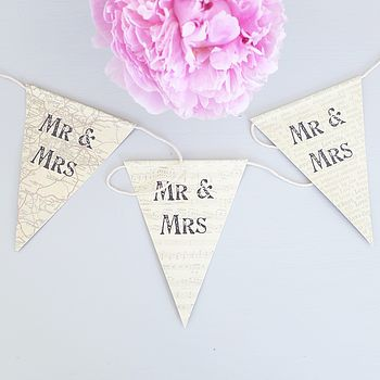 'Mr And Mrs' Printed Card Bunting