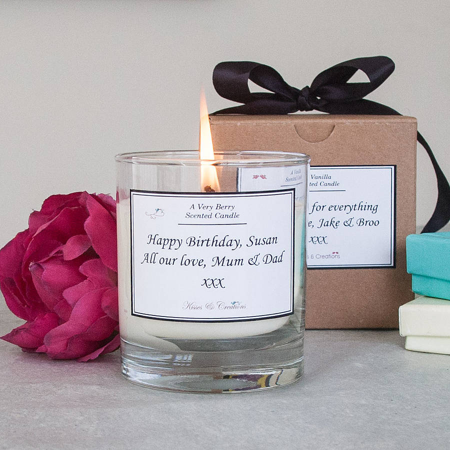 personalised scented candle by kisses and creations ...
