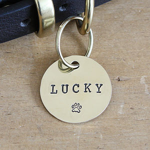 Brass Dog Name ID Tag - walking