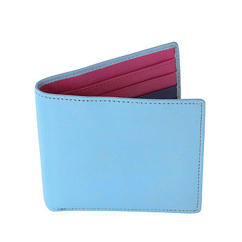 Gresham Blake Leather Wallet Blue and Pink