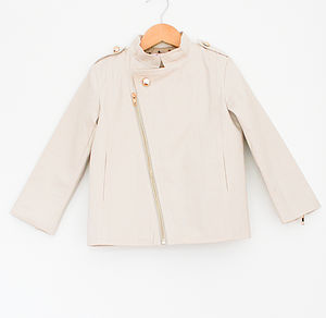 Cream Unisex Zip Up Cotton Jacket - coats & jackets