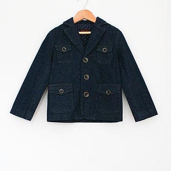 Boy's Denim Jacket With Dotty Lining