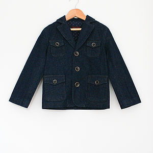 Boy's Denim Jacket With Dotty Lining - coats & jackets
