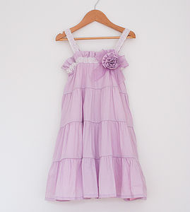 Girl's Cotton Rosette Lace Dress - flower girl fashion