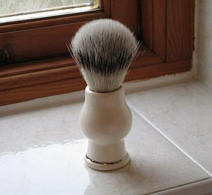 Badger Hair Shaving Brush With Platinum Banding - shaving
