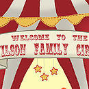Personalised 'Welcome To The Circus' Print