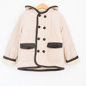 Boy's Ivory Diamond Quilted Jacket
