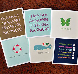 Pack Of Four Thank You Cards