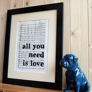 'All You Need Is Love' Framed Music Print