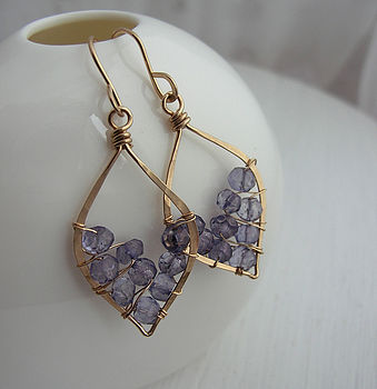 Tanzanite Leaf Hoops