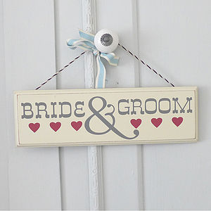 'Bride And Groom' Hanging Wooden Sign