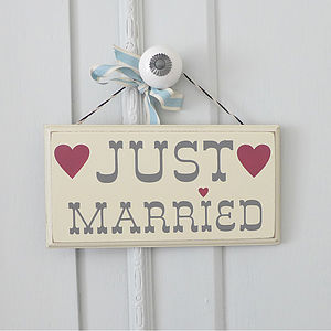 'Just Married' Hanging Wooden Sign - decorative accessories