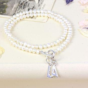 Seed Pearl Wrap Initial Bracelet