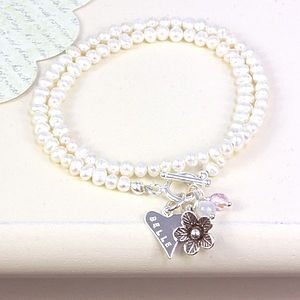 Personalised Pearl Wrap Daisy Bracelet - for her