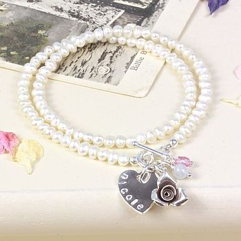 Personalised Pearl Wrap Rose Bracelet