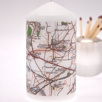 Personalised Postcode Map Candle
