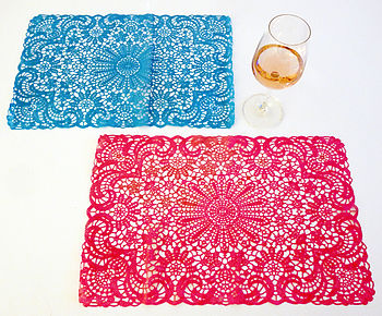 Set Of Six Colourful Crochet Placemats