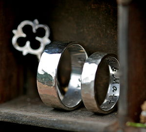 Personalised Hammered Wedding Rings - rings