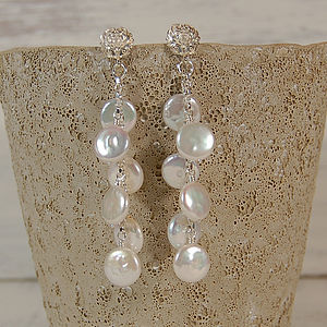 Iridana - White Coin Pearl & Silver Earrings