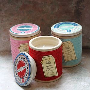 Cotton Reel Candle - bedroom