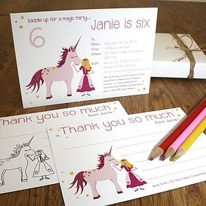 Unicorn Party Invitations Or Thank You Cards - children's party invitations