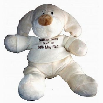 Personalised New Baby Puppy Dog Toy