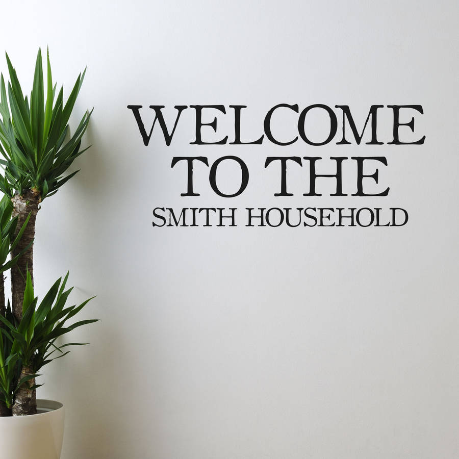 Welcome personalised vinyl wall sticker by oakdene designs welcome personalised vinyl wall sticker amipublicfo Images