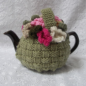 Small Flower Basket Hand Knit Tea Cosy