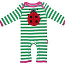 Organic Ladybird Applique Sleepsuit