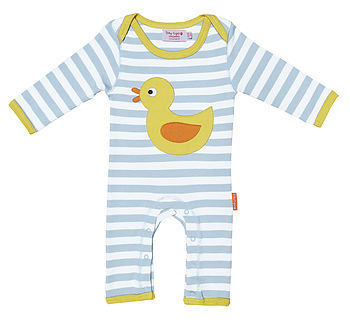 Organic Cotton Applique Duck Sleepsuit