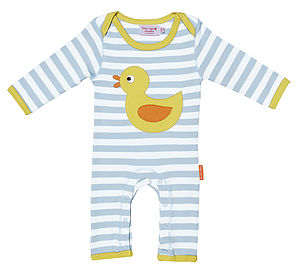 Organic Cotton Applique Duck Sleepsuit - children's clothing
