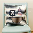 Pirate Ship Appliqued Cushion