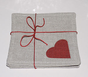 Linen Heart Coasters - dining room