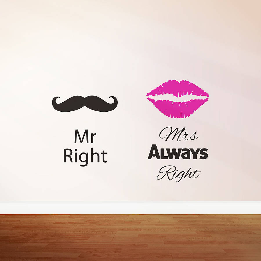mr right mrs always right39; wall sticker by zabb  notonthehighstreet