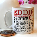 Personalised 60th Birthday Word Art Mug