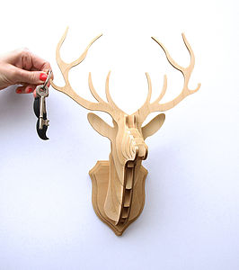 Wooden Stag Head Trophy Key Hanger Small - decorative accessories