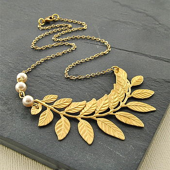 Brass Branch Necklace With Pearls