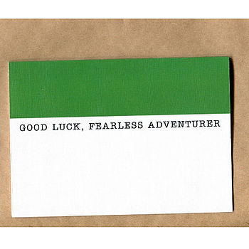 'Good Luck Fearless Adventurer' Card