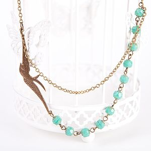 Vintage Soaring Bird And Turquoise Necklace - necklaces & pendants