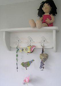 Handmade Shelf With Vintage Bird Hooks
