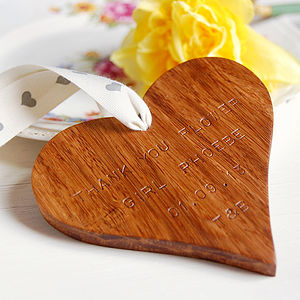Personalised Wooden Heart Keepsake Decoration - wedding favours