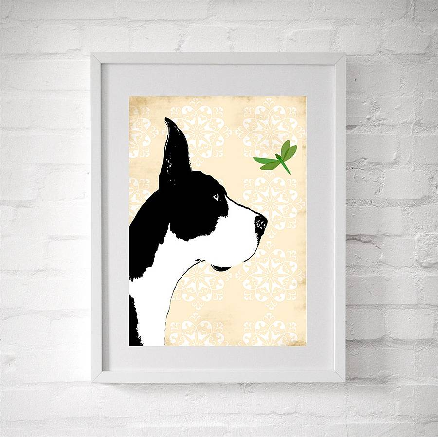 Great Dane Dog With Dragonfly Fine Art Print