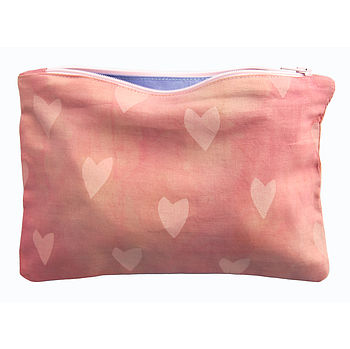 Hand Printed Pink Hearts Zipped Pouch