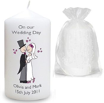 Personalised Bride And Groom Wedding Candle
