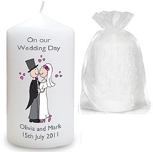 Personalised Bride And Groom Wedding Candle - candles & candlesticks